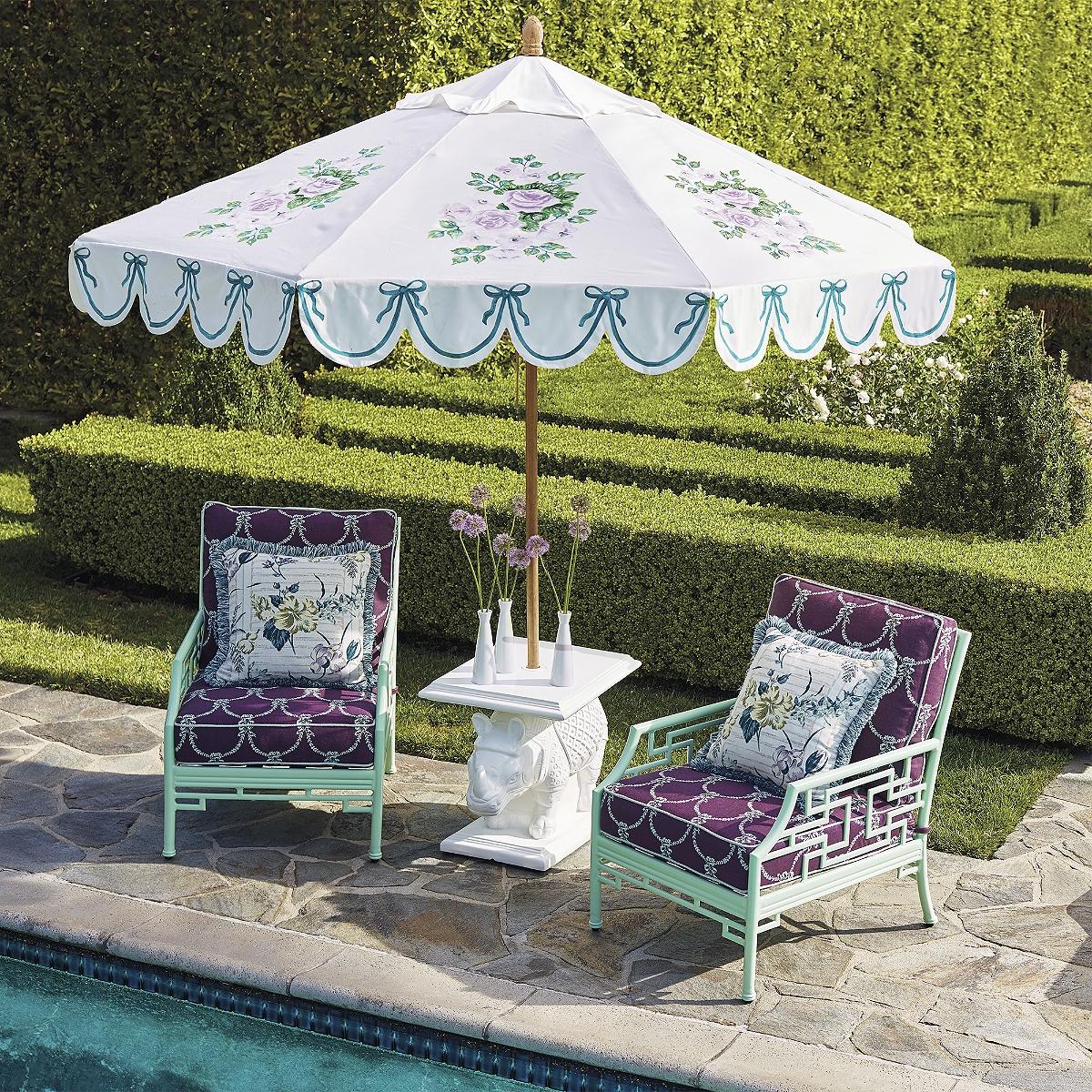 designer patio umbrellas large cantilever patio umbrella with patio furniture and white cushion patio chairs catalog - Designer Patio Umbrellas