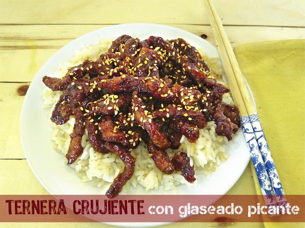 TERNERA CRUJIENTE CON GLASEADO PICANTE la cocinera novata cocina receta gastronomia china oriental salsa de chile dulce