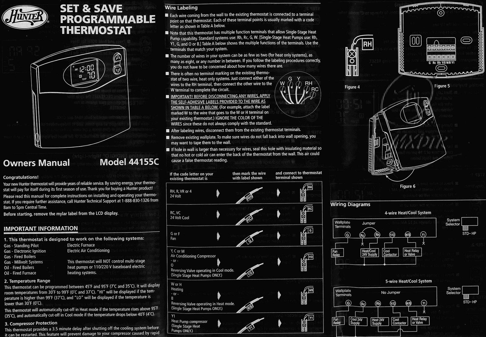 Hunter Thermostat 44155C Manual