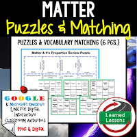 Matter, Physical Science Puzzles, Physical Science Digital Puzzles, Physical Science Google Classroom, Vocabulary, Test Prep, Unit Review