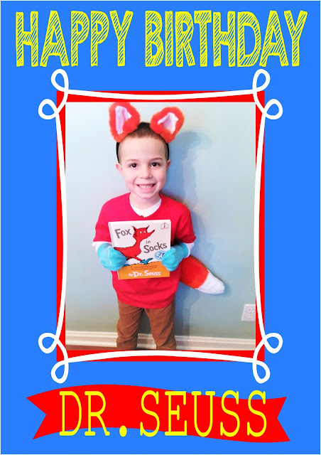 Happy Birthday Dr. Seuss. Fox in Socks costume!