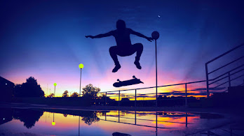Skating, Silhouette, Sunset, Scenery, 8K, #4.2335