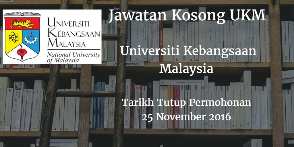 Jawatan Kosong UKM 25 November 2016