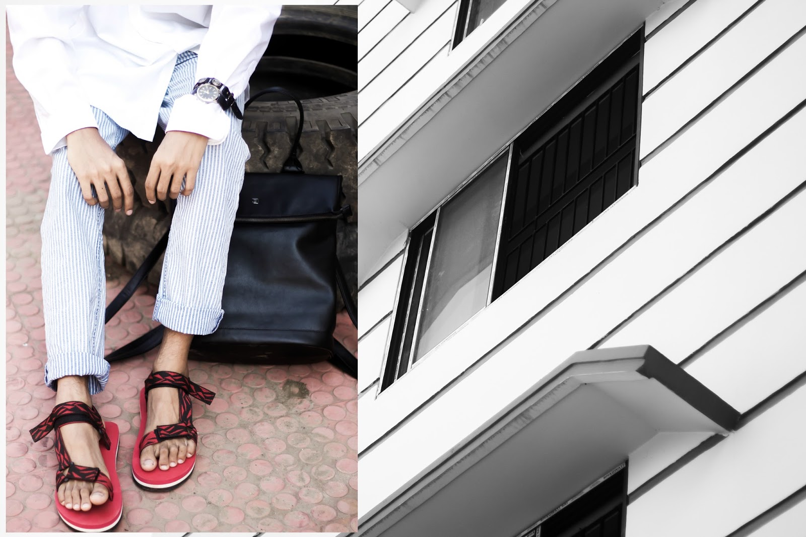 TheQuirkyMinimal by Kangkan Rabha Indian Menswear fashion blog Wearing Berfolk tote bag and Koovs Sandals
