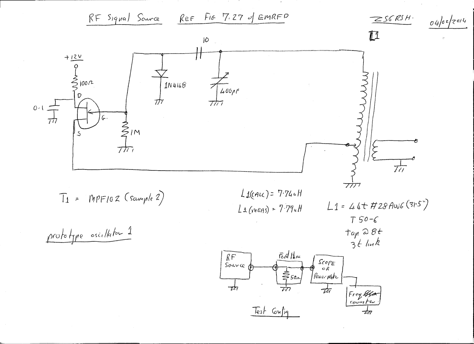 N4HAY / ZS6RSH: RF signal source  Oscillator prototype build