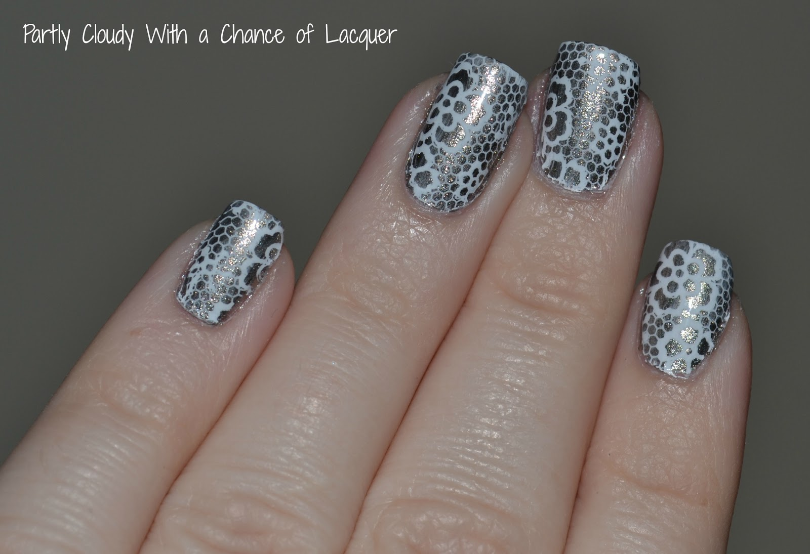 Silver and White Lace Stamped Nails | Partly Cloudy With a Chance of ...