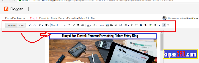 Remove Formatting Dalam Entry Blog