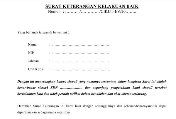 Contoh Surat Keterangan Kelakuan Baik Siswa dari Sekolah