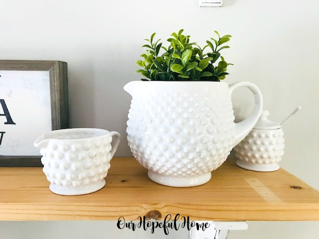 white hobnail pitcher sugar bowl creamer