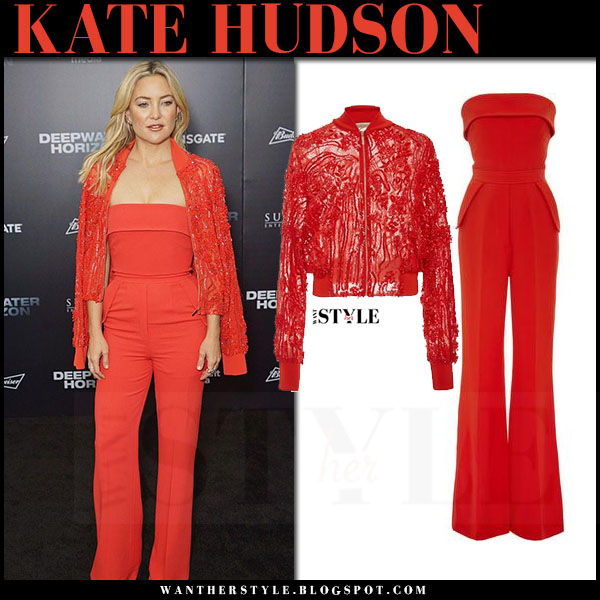 Kate Hudson in red strapless jumpsuit and red lace jacket elie saab resort what she wore red carpet