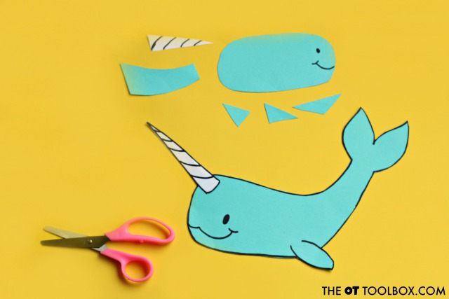 Help kids improve scissor skills with this narwhal craft.