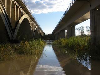 Crecida del río Gállego 24/11/2016 puentes del ferrocarril
