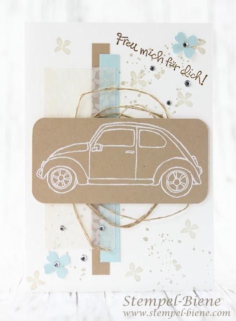 Glückwunschkarte neues Auto; Karte Blechrunde; Karte bestandener Führerschein; Stampinup; Stampin' Up, Stampinup Beautiful Ride; Matchthesketch; Stempel-Biene