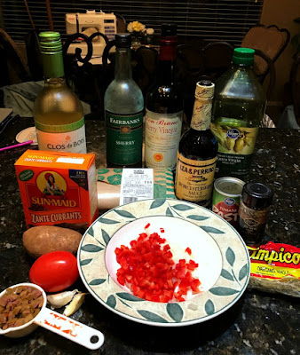 Filling Ingredients for Lamb Picadillo Tacos