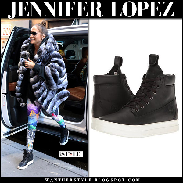 Jennifer Lopez in fur coat and black leather sneakers timberland mayliss street style november 10 2017