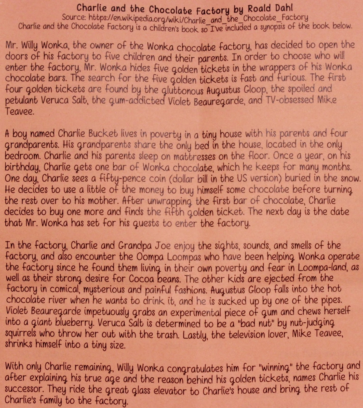 charlie and the chocolate factory book report