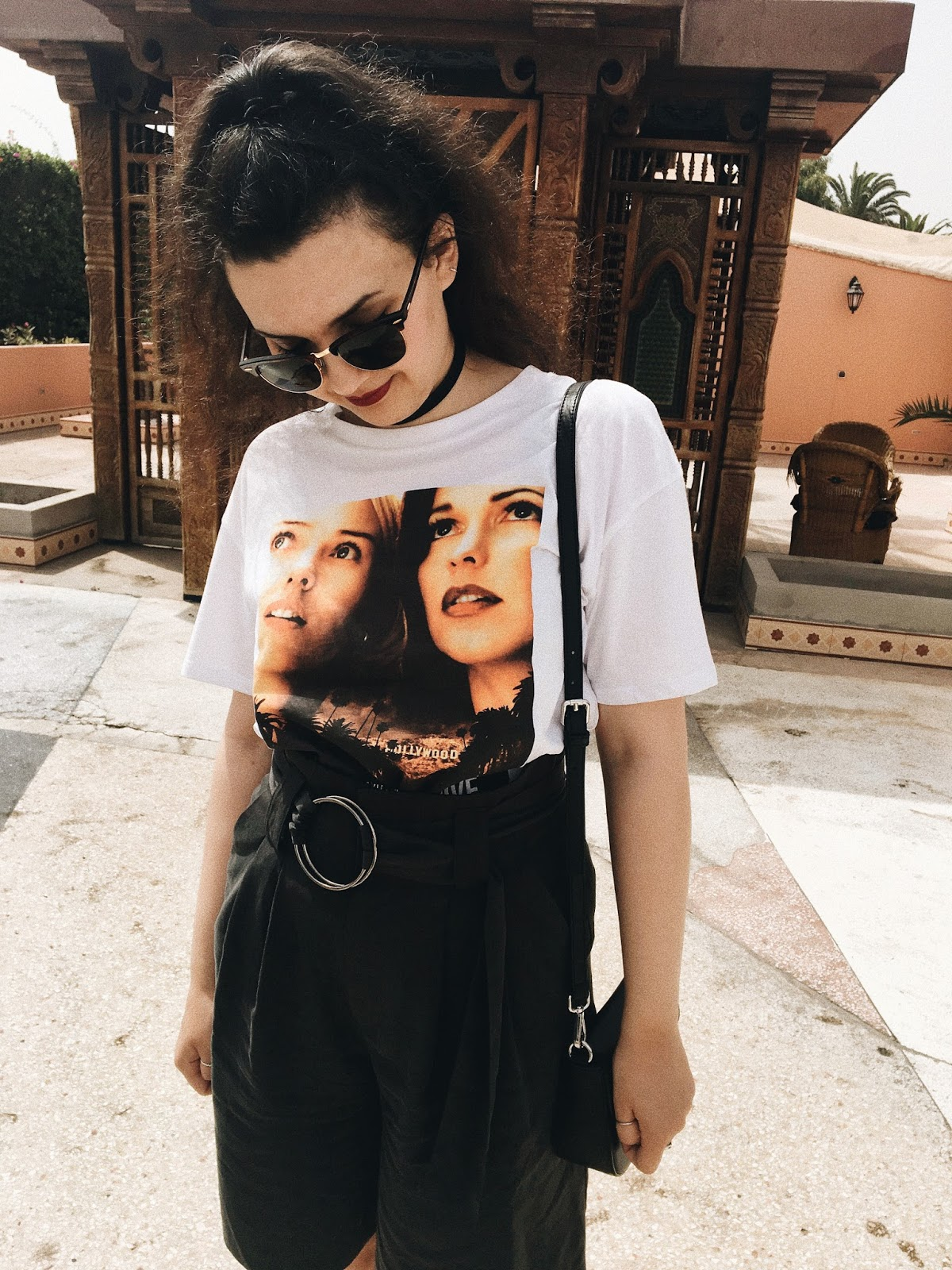 brooklyn is burning, morocco, agadir, holiday, ray-ban clubmasters, zara pre-autumn, high waisted shorts, mulholland drive t-shirt, david lynch, plateau black sandals from shoebizz copenhagen, brunette, fashion blogger, personal style blogger