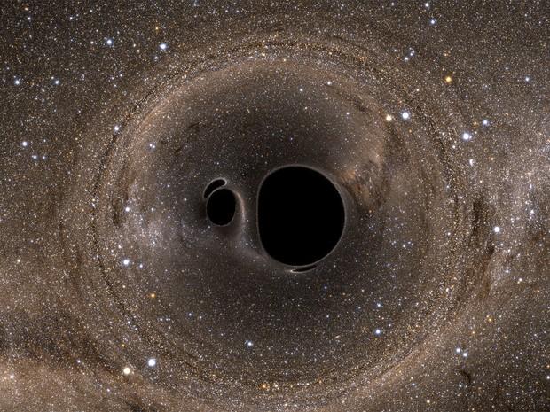 Simulação ilustra colisão de buracos negros como aquela detectada pelo projeto Ligo (Foto: Andy Bohn et al.)