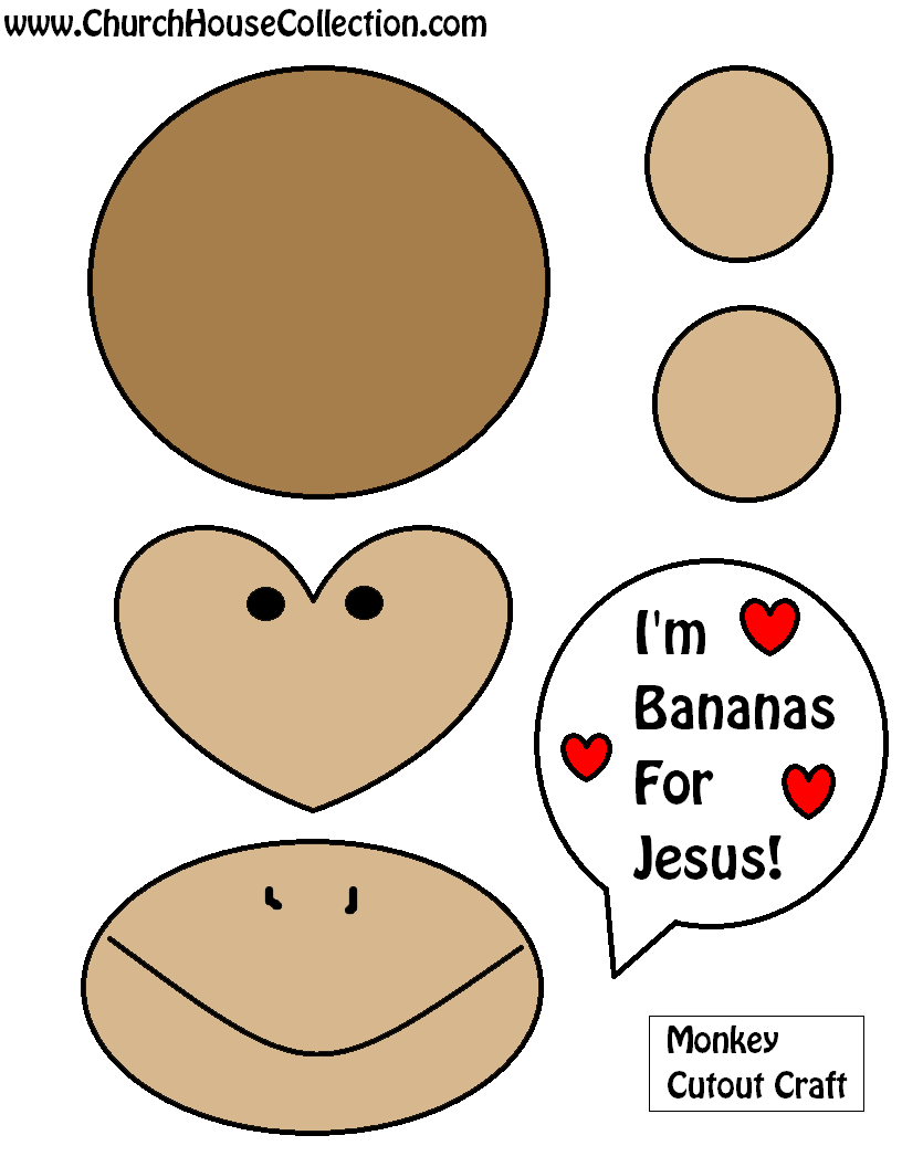 Free Printable Valentine's Day Monkey Bananas For Jesus Cutout Craft For Kids In Sunday School or Childrens Church by Church House Collection