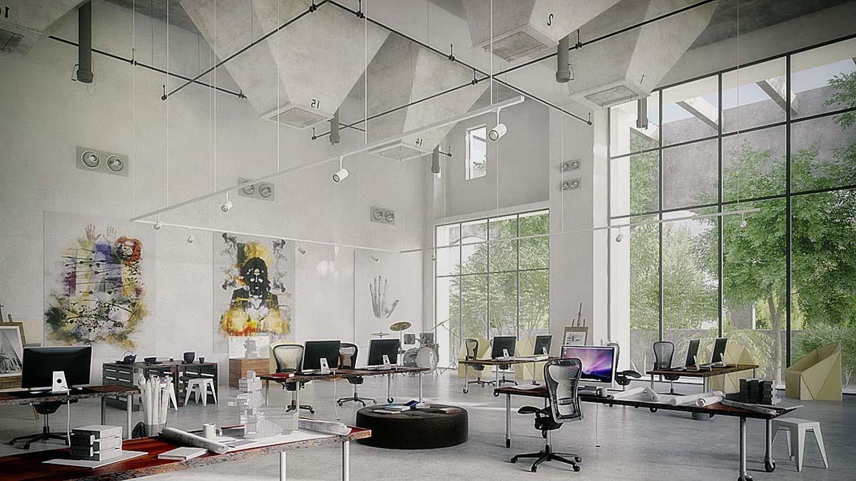 Desain 3D Interior Perkantoran Tanpa Partisi