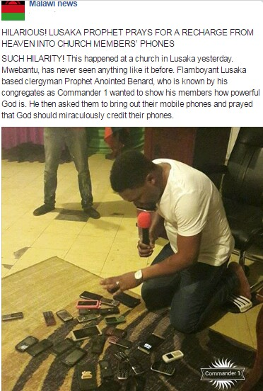 This Hilarious Pastor gathers phones of church members and prays for recharge cards into their phonesphones (Photo)