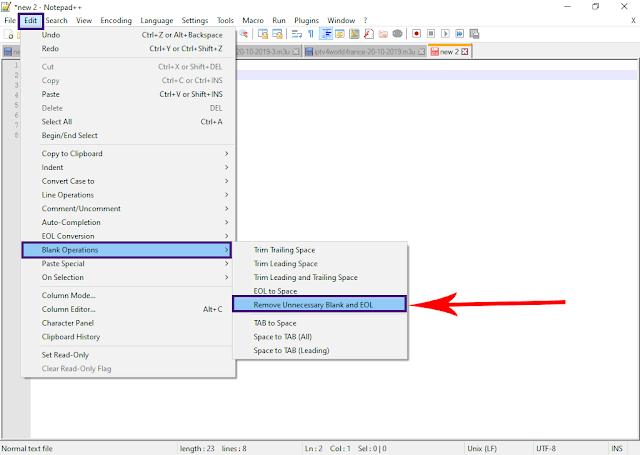 حذف اسطر استخدام اداة Line Operations على notepad++