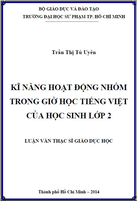Kĩ năng hoạt động nhóm trong giờ học Tiếng Việt của học sinh lớp 2