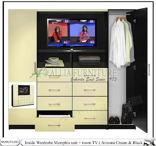 Lemari pakaian model unit tv Memphis