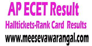 AP ECET 2017 Hall Tickets Rankcard Results Download
