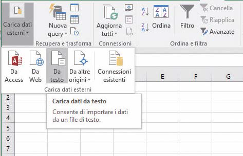 Come importare i dati in Excel