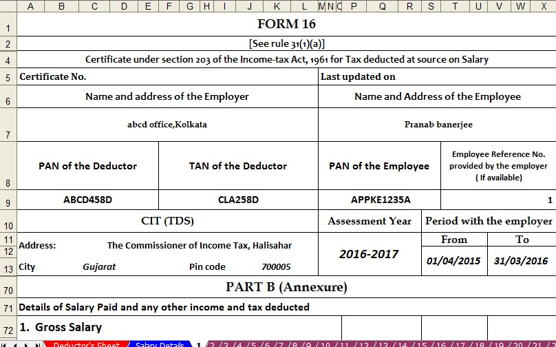 Income Tax Form 16 Download Image Gallery - Hcpr