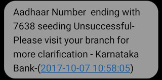 Link Aadhaar with Karnataka Bank Account Un-Successful