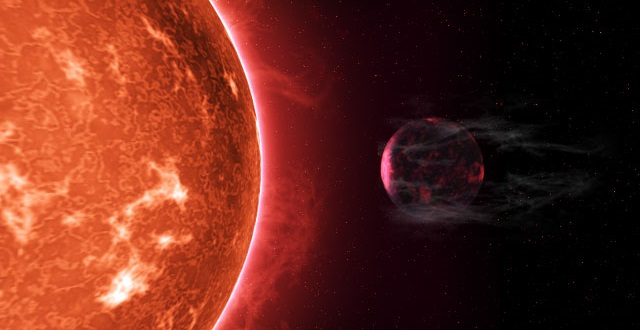 Planet being stripped by host star's heat (Credit: Peter Devine)