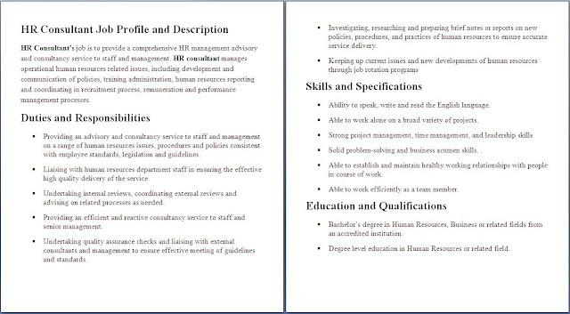 human resources consultant job description - Selol-ink - human resources job description