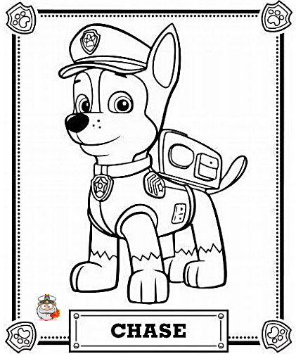 Paw Patrol Chase coloring page free