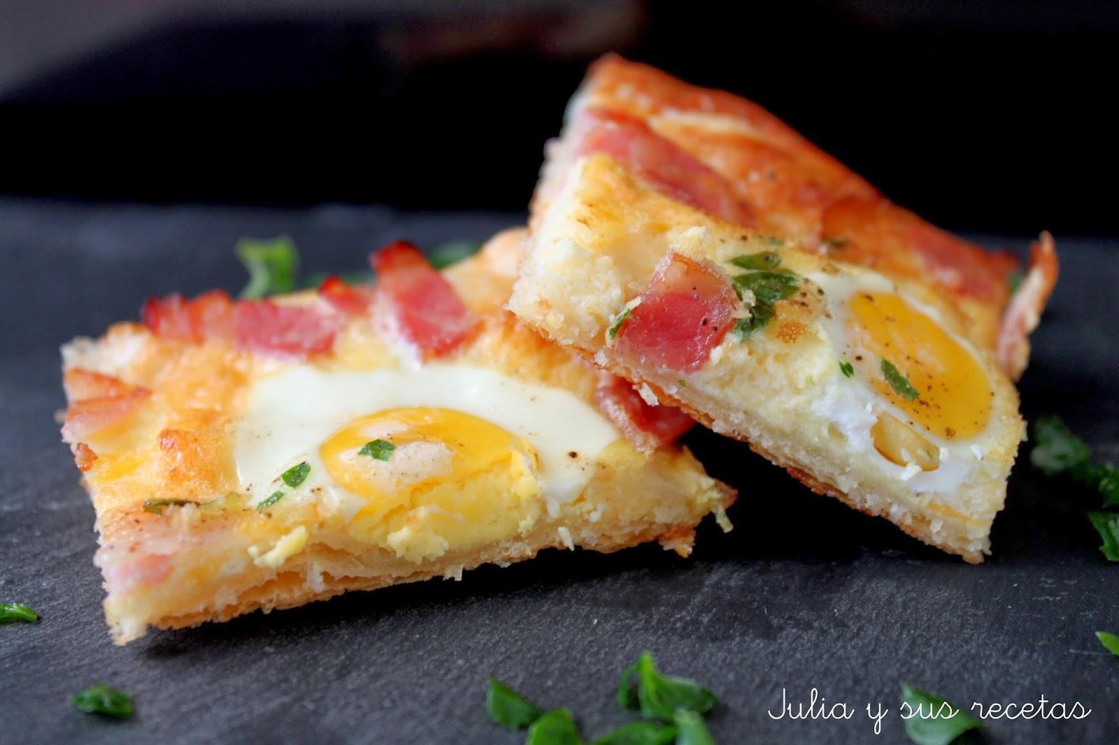 Hojaldre de huevos de codorniz y bacon. Julia y sus recetas