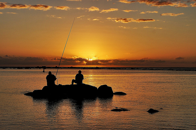 Fishing at sunset in Madagascar