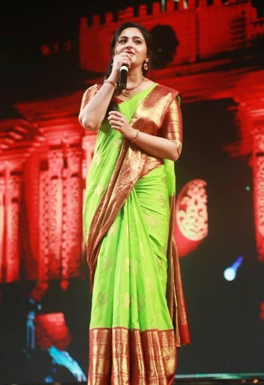 Anushka Shetty At Baahubali 2 Audio Launch In Green Saree