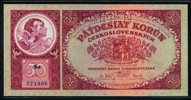 Czechoslovakian money currency 50 Czech korun banknote