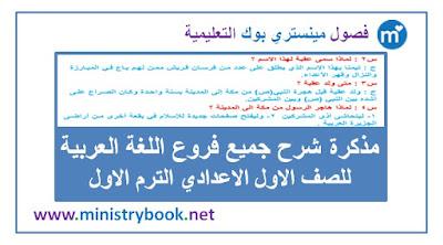 مذكرة لغة عربية للصف الاول الاعدادي ترم اول 2018-2019-2020-2021