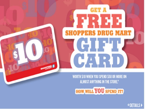 Shoppers Drug Mart Free $10 Gift Card