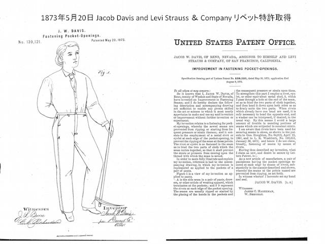 ジェイコブデイビスとリーバイ・ストラウス共同申請のリベット特許書類