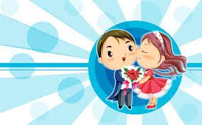 Kartun sedang mencium pasangannya