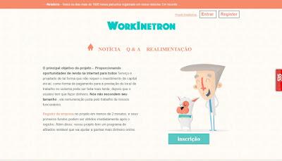 Workinetron | Site permite lucros de $ 1,35 por tarefa diária