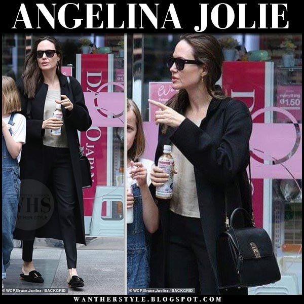 Angelina Jolie In Black Coat And Black Mules In La On April 28 I