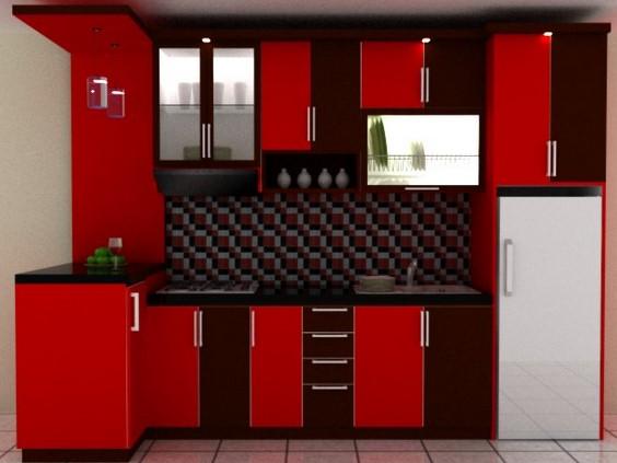 Desain Dapur Merah Hitam  46 kitchen set minimalis warna merah paling populer