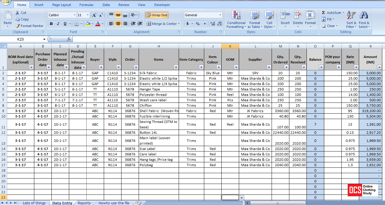 How to Maintain Fabric, Trim and Accessory Record in an Excel Sheet ...