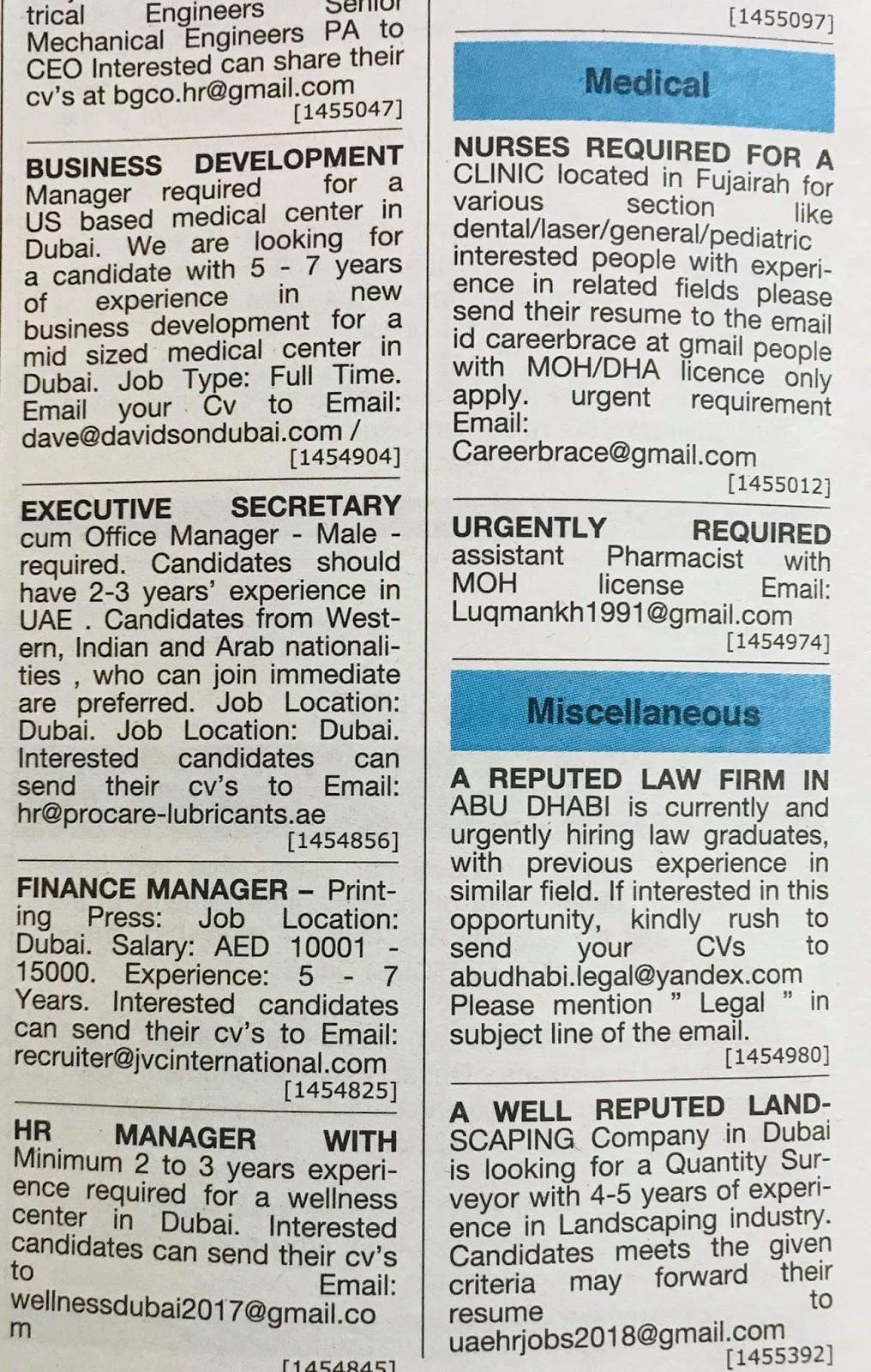 Multiple vacancies in UAE Jobs Local Hiring Khaleej Times