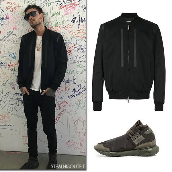 Liam Payne in black bomber jacket from Dsquared2 steal his outfit july 25 2017