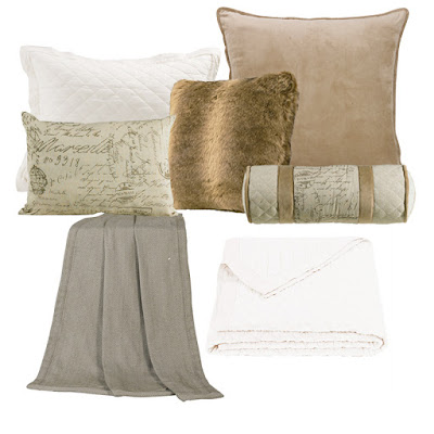Fairfield Euro sham, Fairfield throw, Fairfield script pillows, Wolf faux fur pillow, vintage white linen quilt and sham